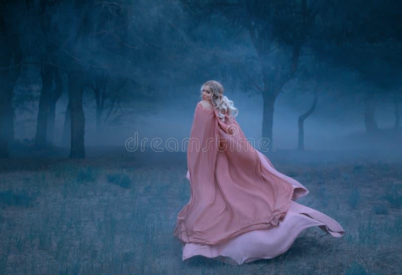 Ursnygg ung drottning med körningar för blont hår i en mörk och tät läskig skog mycket av vit mist, iklätt a länge som flyger royaltyfri fotografi
