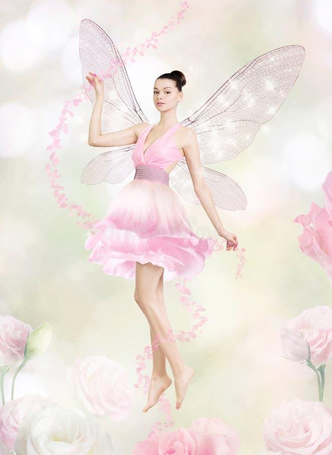 Ursnygg ung kvinna som blommafe royaltyfri fotografi