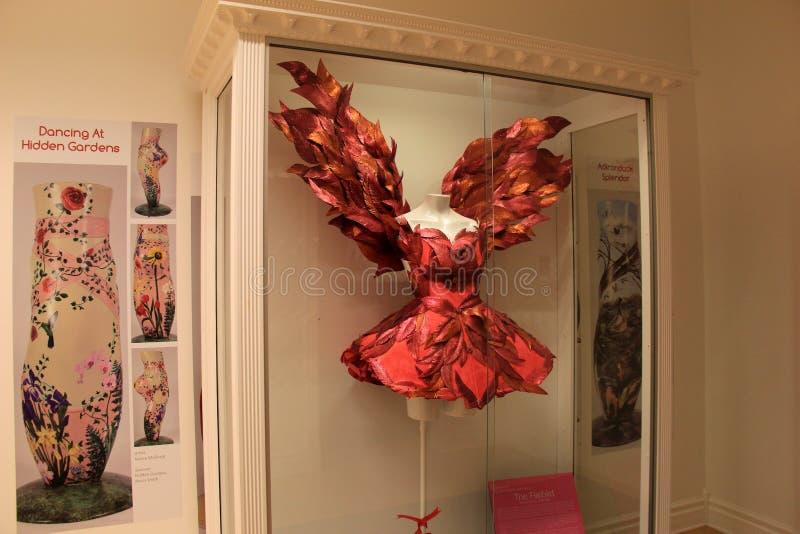 Ursnygg utställning av dansdräkten som är betitlad 'Firebirden' på skärm på det nationella dansmuseet, Saratoga, 2016 royaltyfri fotografi
