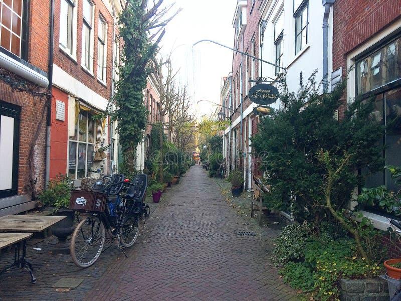 Ursnygga Laneway i Haarlmen, Nederländerna royaltyfri fotografi