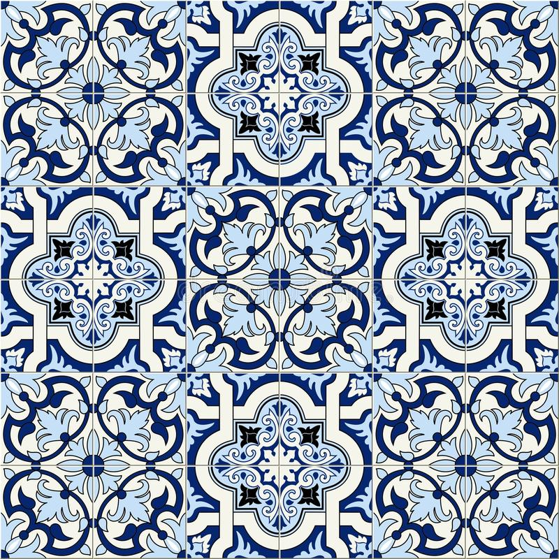 Ursnygga sömlösa marockanska modellvitblått, portugistegelplattor, Azulejo, prydnader Kan användas för tapeten, modell vektor illustrationer