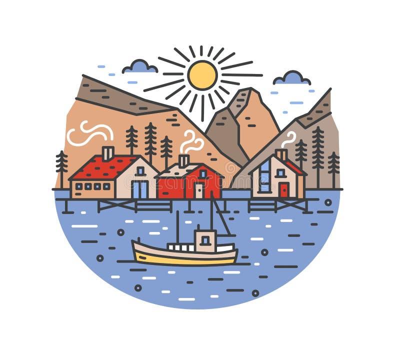 Ursnyggt landskap med fartygsegling i havet och att förbigå styltahus, prydliga träd och berg Marin- resa eller stock illustrationer