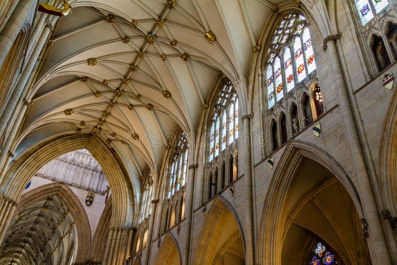 Ursnyggt tak, målat glassfönster och inre arkitektur av den York domkyrkadomkyrkan i Yorkshire, England fotografering för bildbyråer
