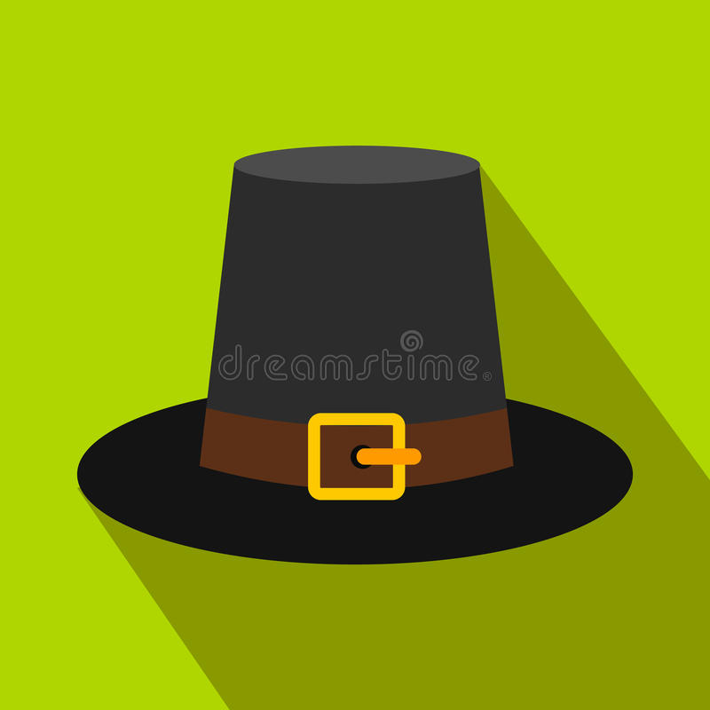 Ursnyggt vallfärda den plana symbolen för hatten med skugga royaltyfri illustrationer