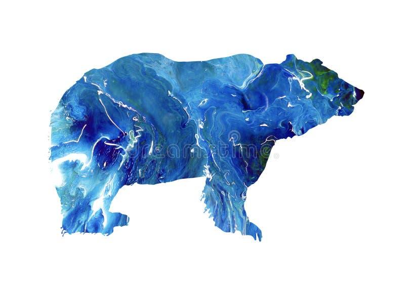 Urso abstrato, silhueta do mármore do urso polar Animal selvagem grande ilustração do vetor