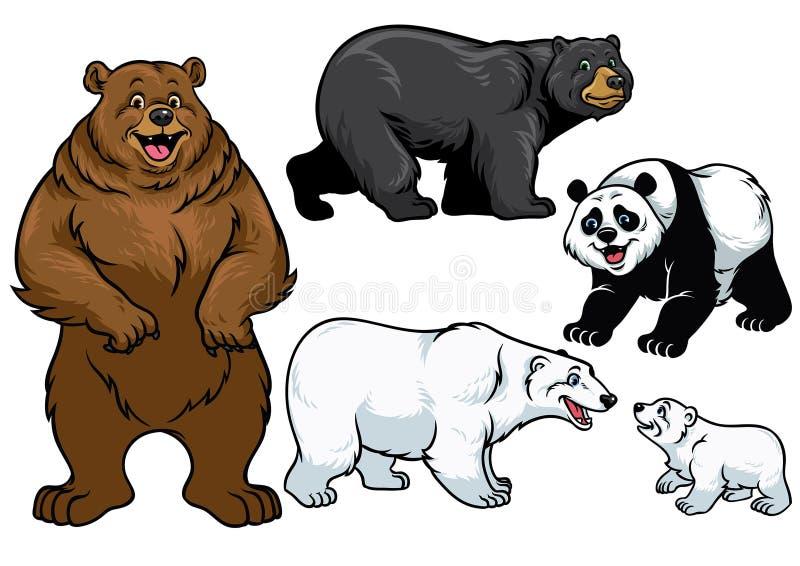 Urso ajustado no estilo dos desenhos animados ilustração royalty free