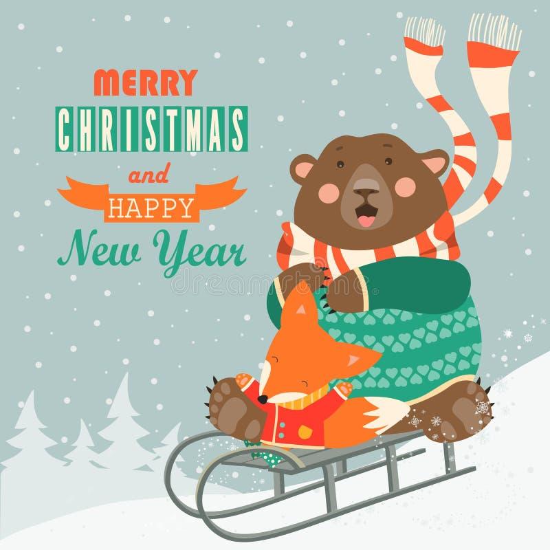 Urso amedrontado e raposa feliz que rolam para baixo um monte ilustração royalty free