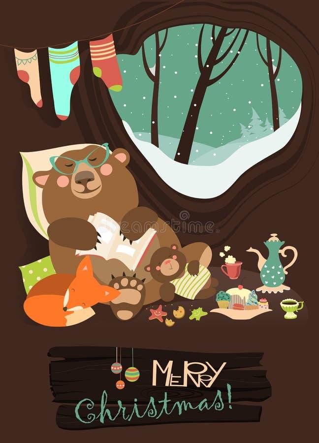 Urso bonito com o filhote e a raposa pequena que dormem no seu ilustração royalty free