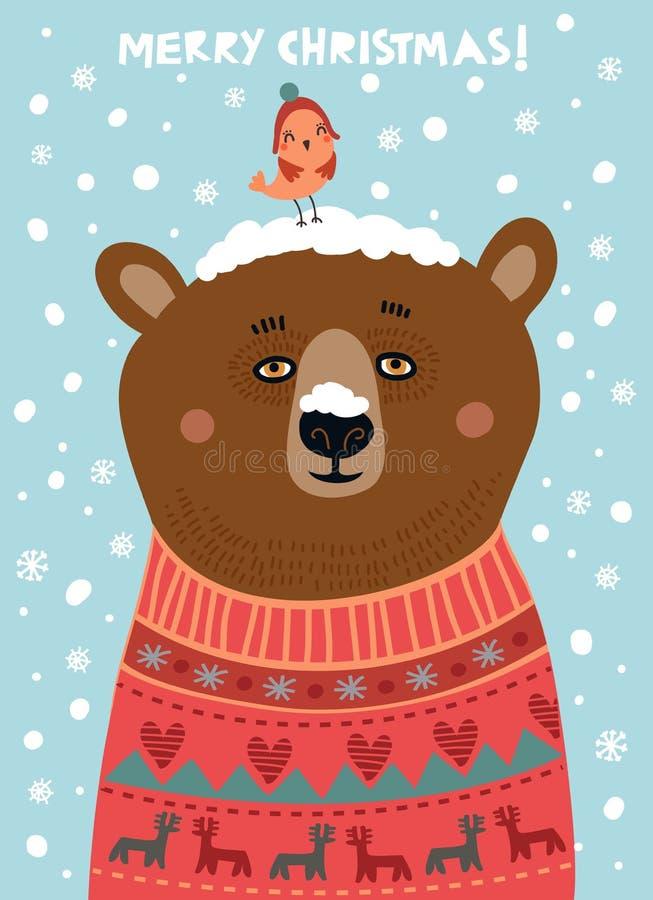 Urso bonito com um pássaro Cartão de Natal ilustração stock