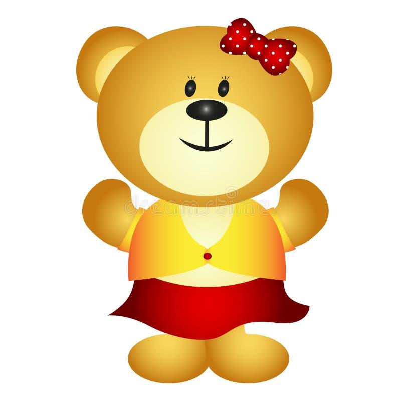 Urso bonito da menina dos desenhos animados ilustração royalty free