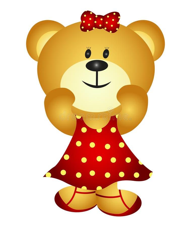 Urso bonito da menina dos desenhos animados ilustração stock
