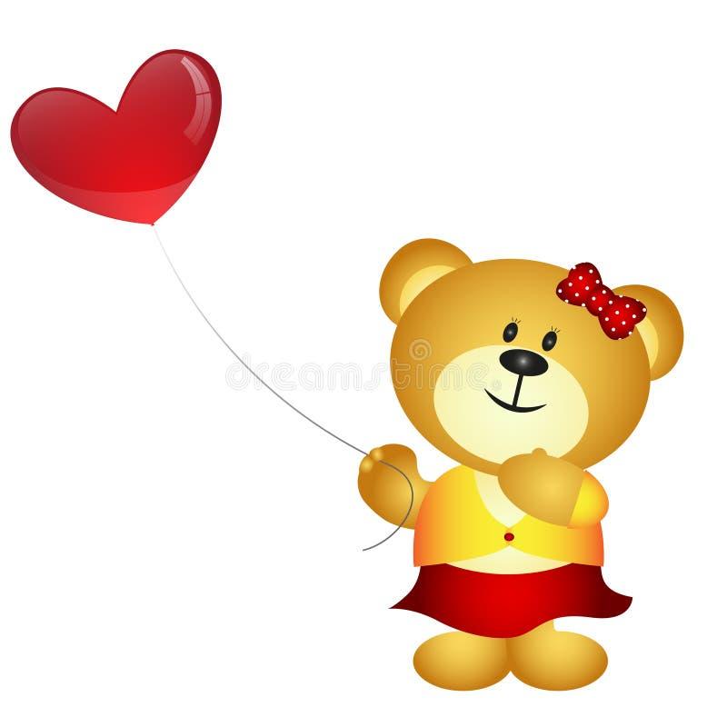 Urso bonito da menina dos desenhos animados que guarda o balão do amor ilustração do vetor