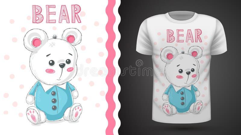 Urso bonito da peluche - ideia para o t-shirt da cópia ilustração do vetor