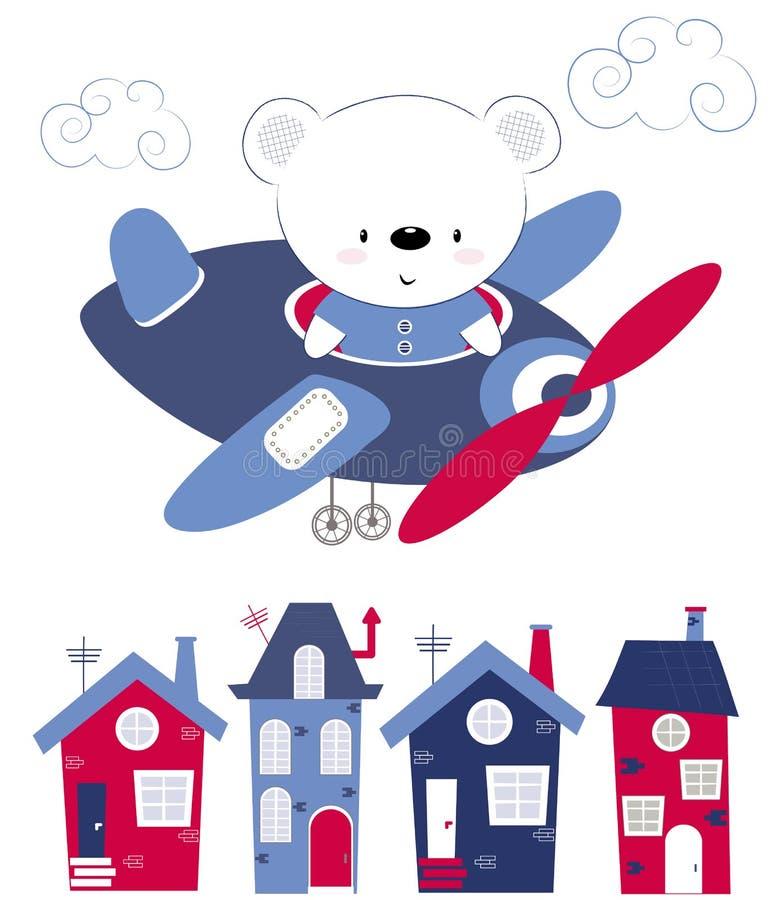Urso bonito do bebê que voa sobre as casas no plano A impressão para crianças, cartaz das crianças, a roupa das crianças, cartão  ilustração do vetor
