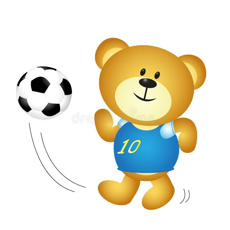 Urso bonito do menino dos desenhos animados que joga o futebol ilustração royalty free