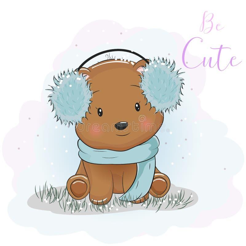 Urso bonito dos desenhos animados com fones de ouvido e lenço da pele ilustração royalty free