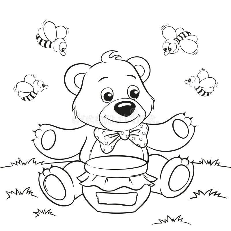 Urso Bonito Dos Desenhos Animados Com Mel E Abelhas Ilustracao