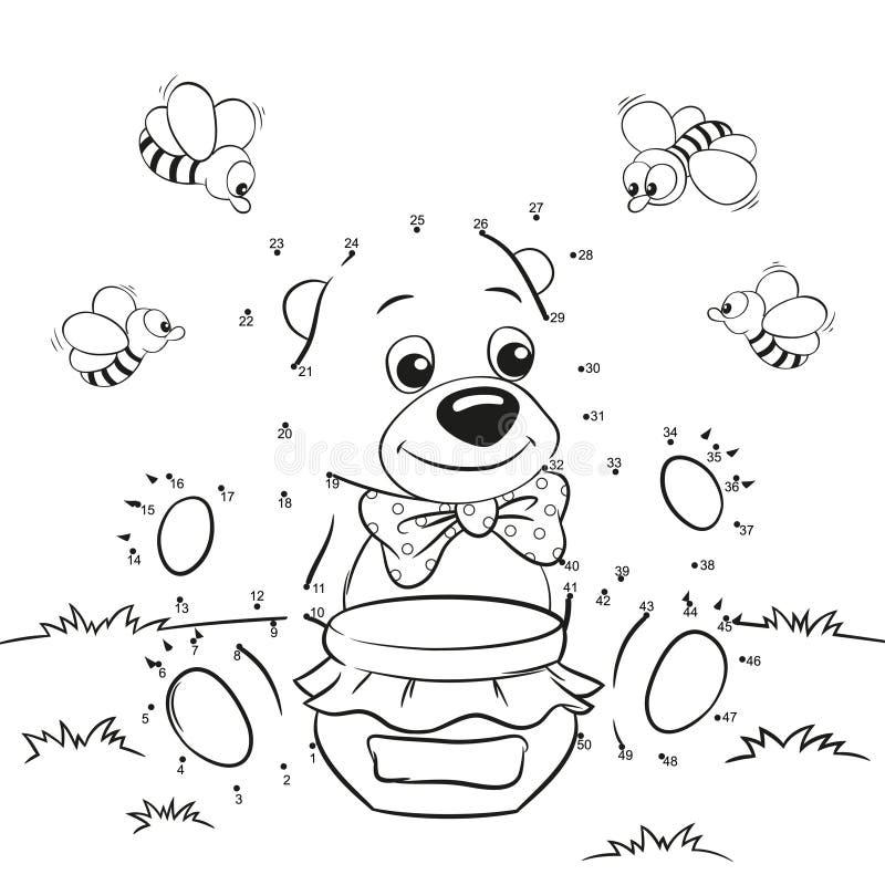 Urso bonito dos desenhos animados com mel e abelhas Ponto para pontilhar o jogo ilustração stock