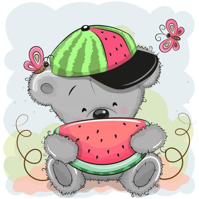 Urso bonito dos desenhos animados com melancia ilustração stock