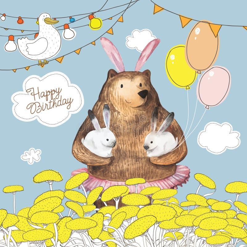 Urso bonito dos desenhos animados com os balões que guardam dois coelhos pequenos Projeto de cartão do feliz aniversario Mão dese ilustração do vetor