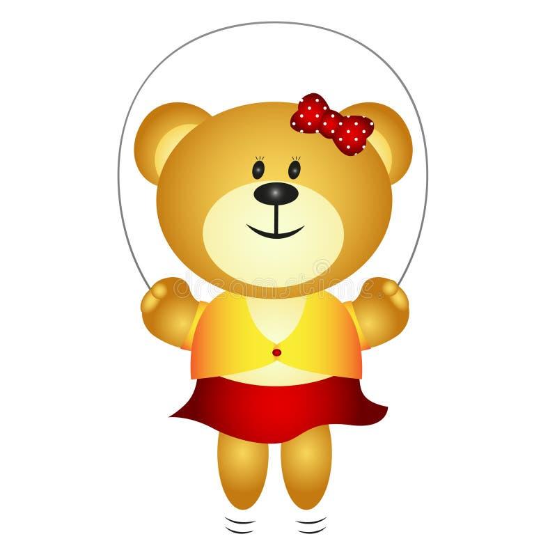 Urso bonito dos desenhos animados da menina que joga a corda de salto ilustração royalty free