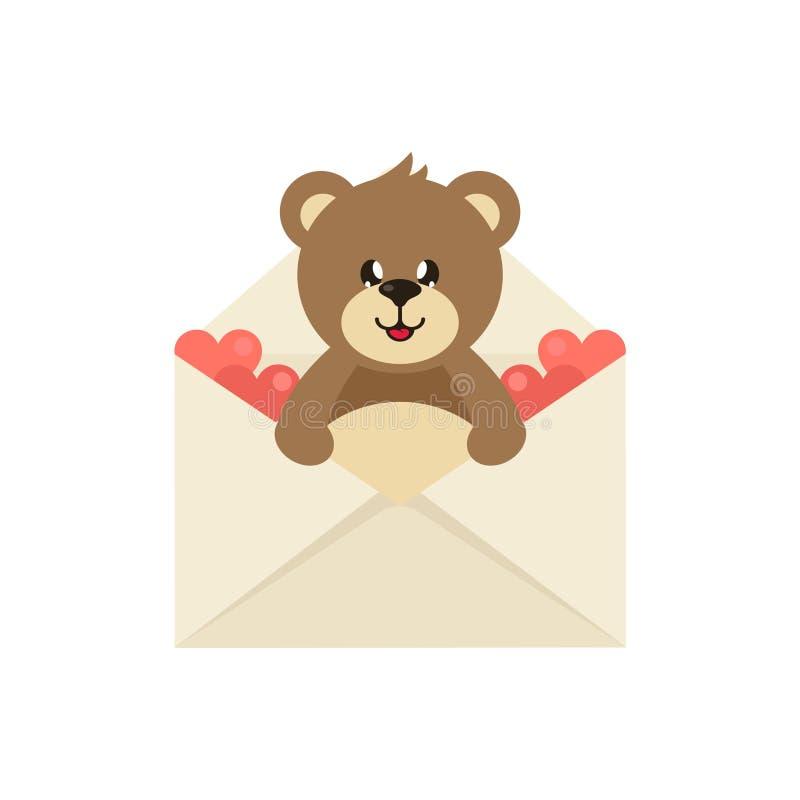 Urso bonito bonito dos desenhos animados em um envelope ilustração do vetor