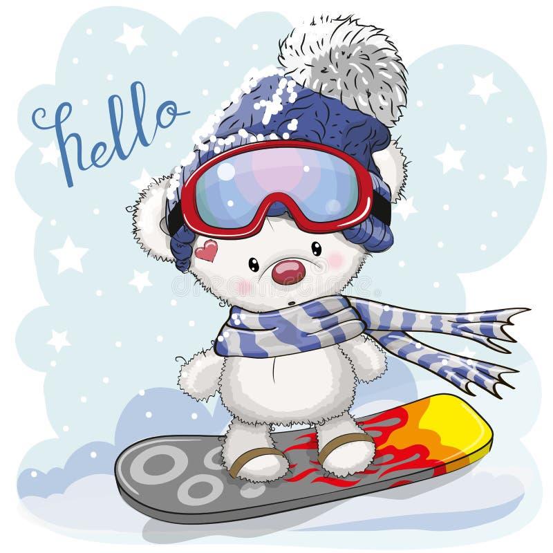 Urso bonito dos desenhos animados em um snowboard ilustração do vetor