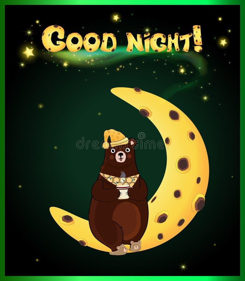 Urso bonito dos desenhos animados na boa noite da lua e da inscrição ilustração royalty free