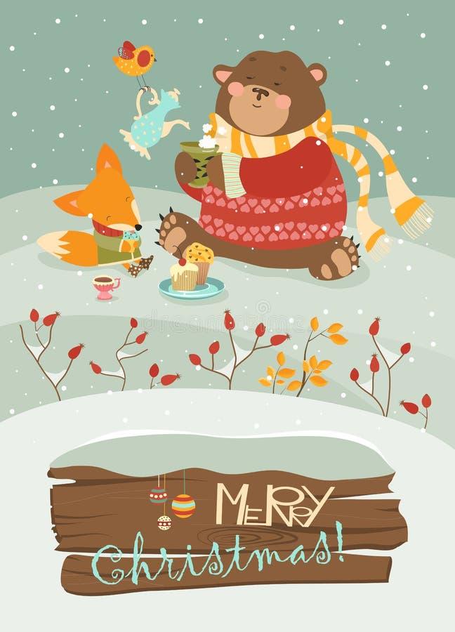 Urso bonito e raposa pequena que comemoram o Natal ilustração royalty free