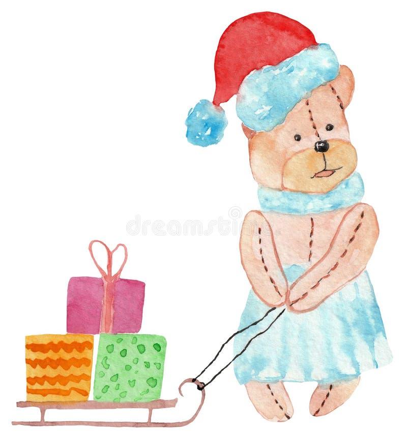 Urso bonito em um chapéu vermelho com presentes em um trenó ilustração para cópias, cartão da aquarela do ano novo fotografia de stock royalty free