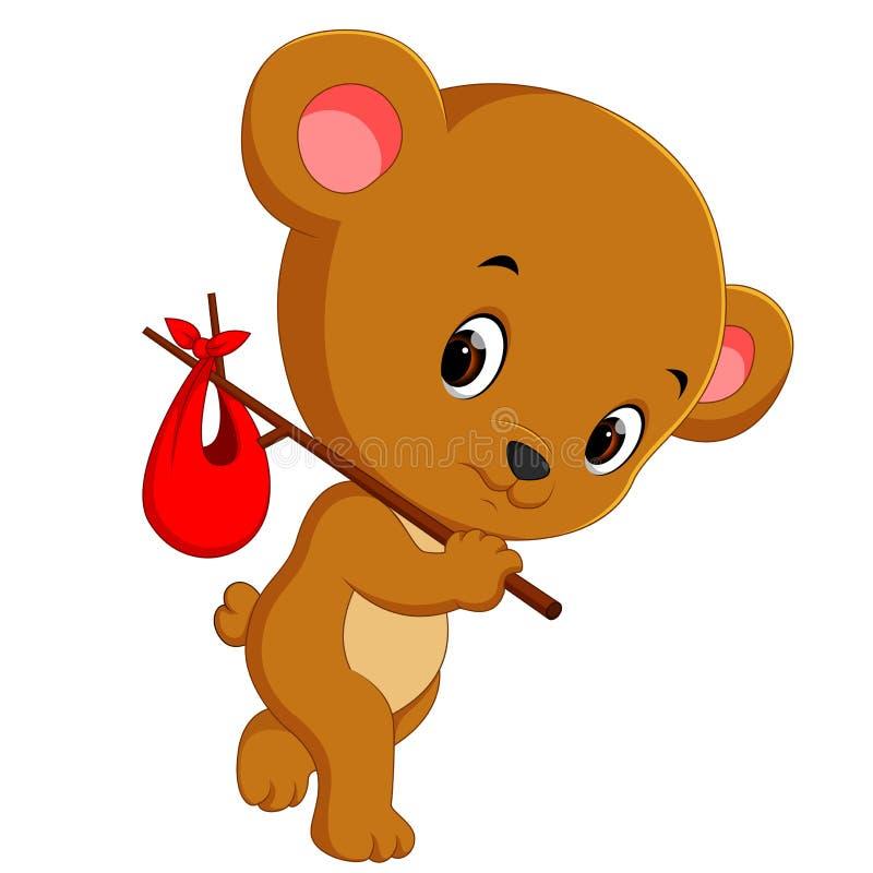 Urso bonito em uma viagem ilustração royalty free