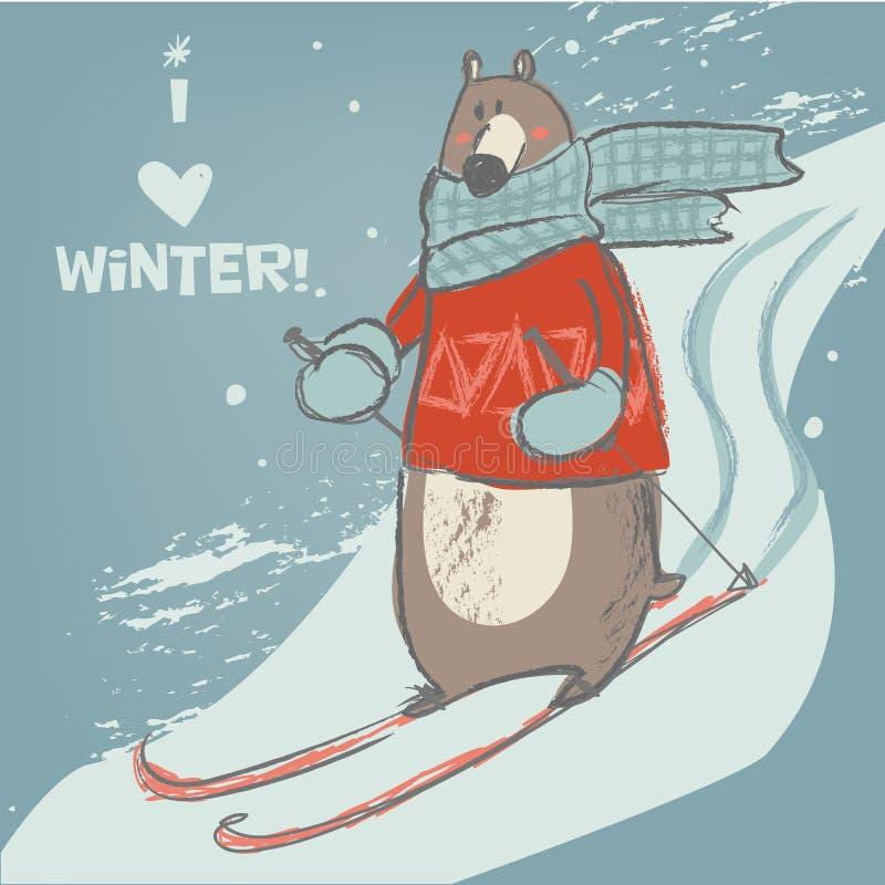 Urso bonito no esqui ilustração stock