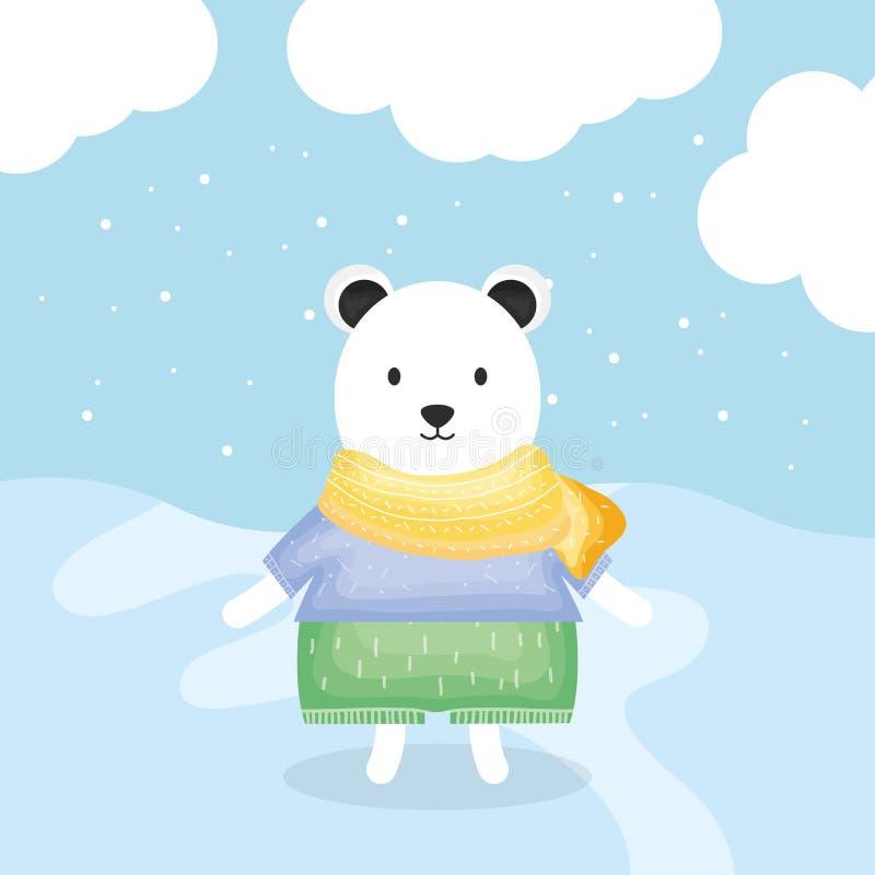 Urso bonito polar com caráter da roupa ilustração royalty free