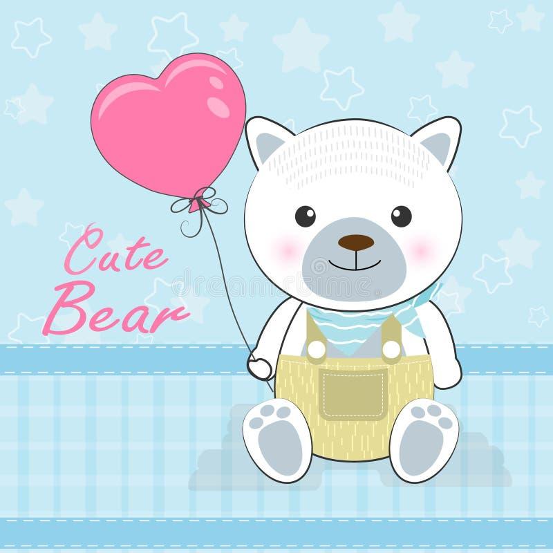 Urso bonito que guarda o balão do coração no azul, cartão do dia de Valentim ilustração do vetor