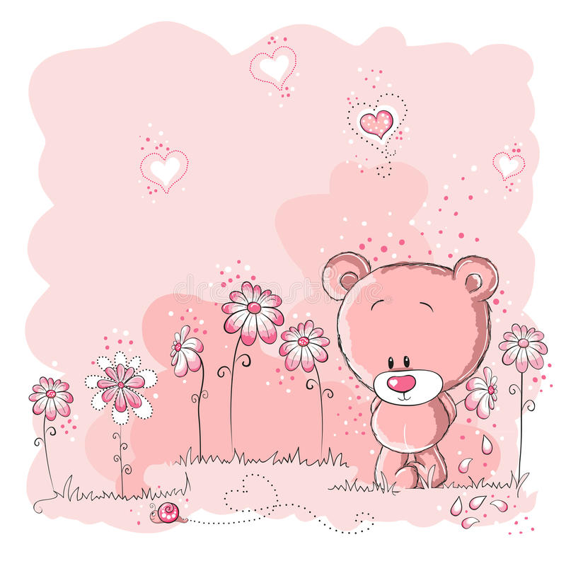 Urso bonito que prende uma flor