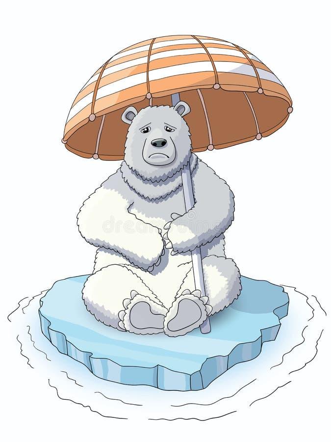 Urso branco bonito que senta-se no gelo de derretimento foto de stock royalty free