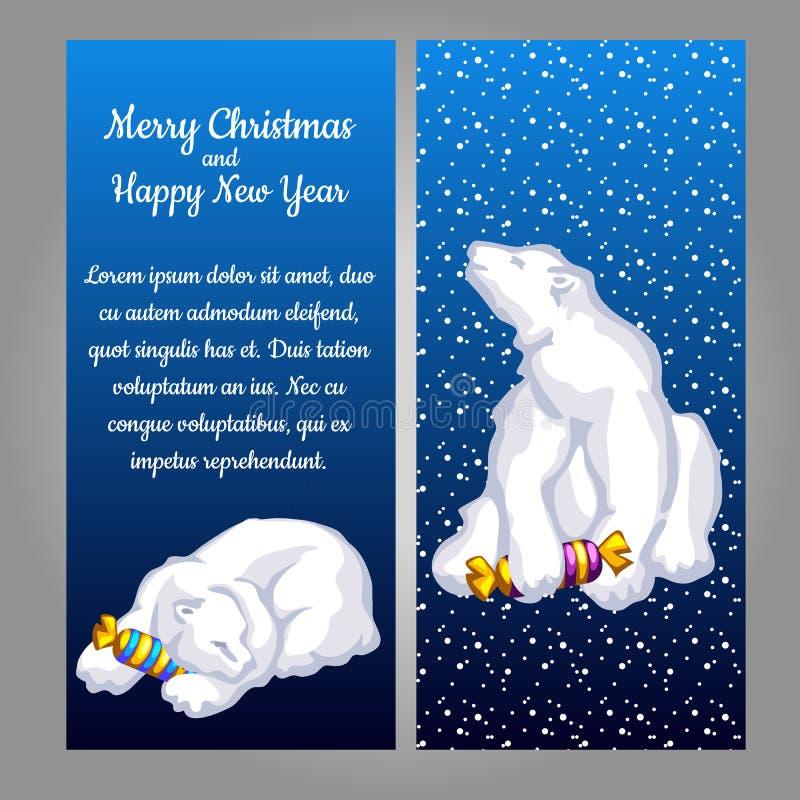 Urso branco com doces em um fundo azul ilustração stock