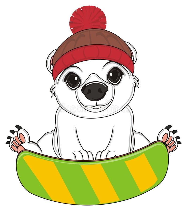 Urso branco e snowboard ilustração stock