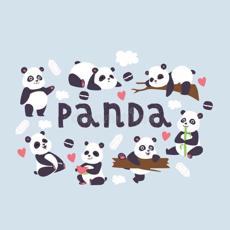 Urso chinês do bearcat do vetor da panda com bambu no amor que joga ou contexto da ilustração do sono de comer da panda gigante ilustração stock