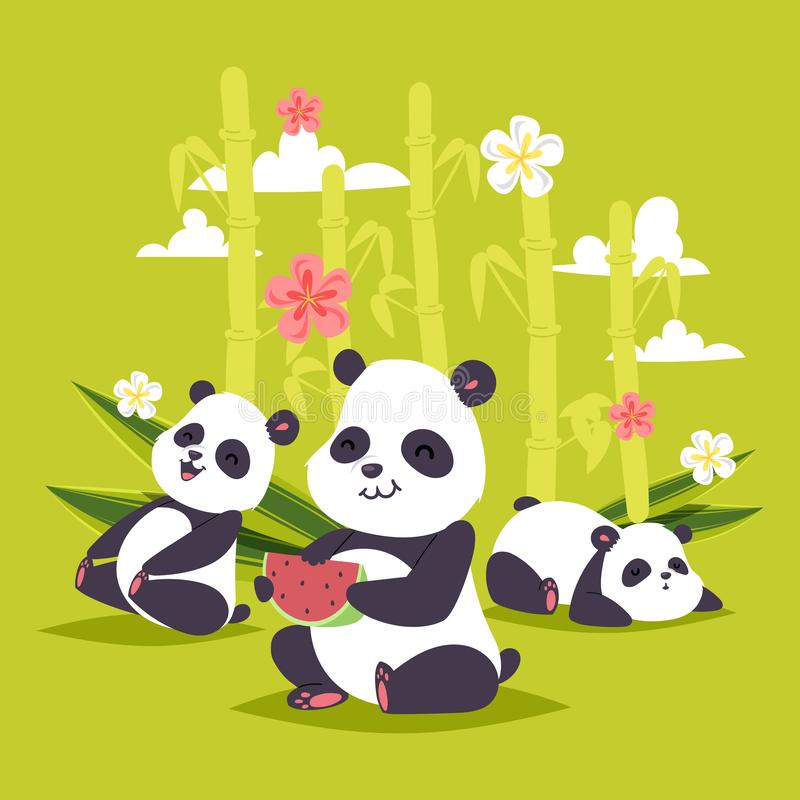 Urso chinês do bearcat do vetor da panda com o contexto de bambu da ilustração do jogo ou do sono da panda gigante que come a mel ilustração royalty free