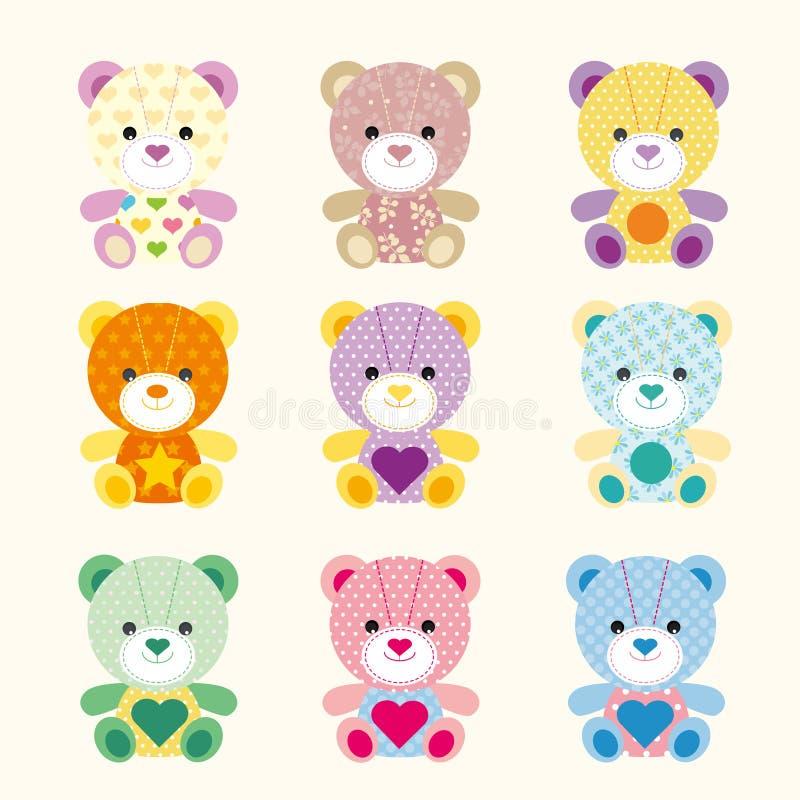 Urso colorido do bebê com teste padrão diferente ilustração stock