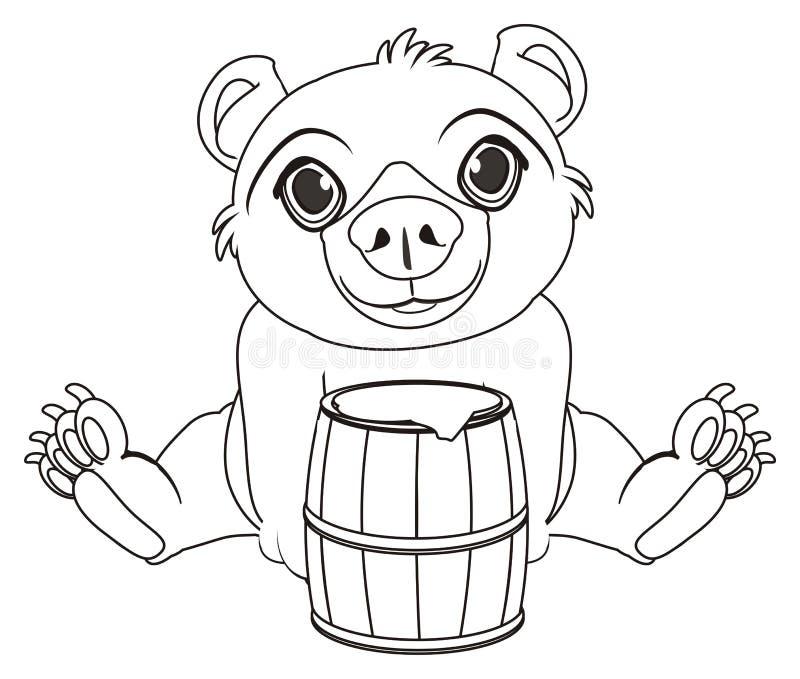 Urso colorindo com tambor ilustração stock