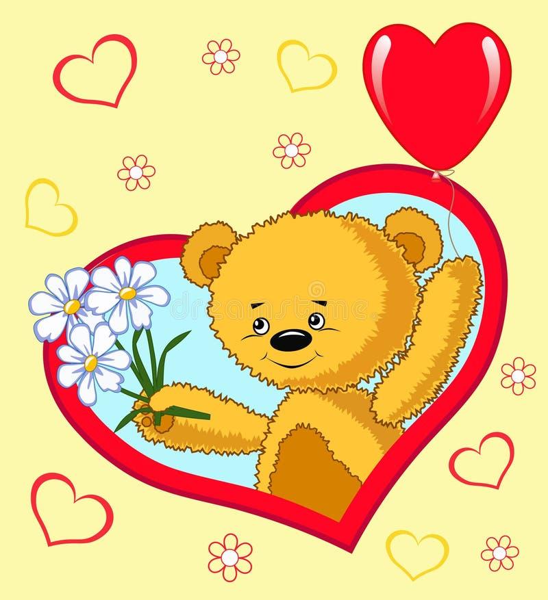 Urso com balão. Desenhos animados. ilustração royalty free