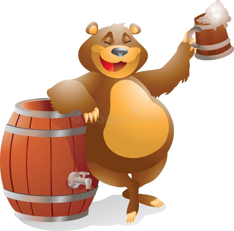 Urso com cerveja ilustração stock