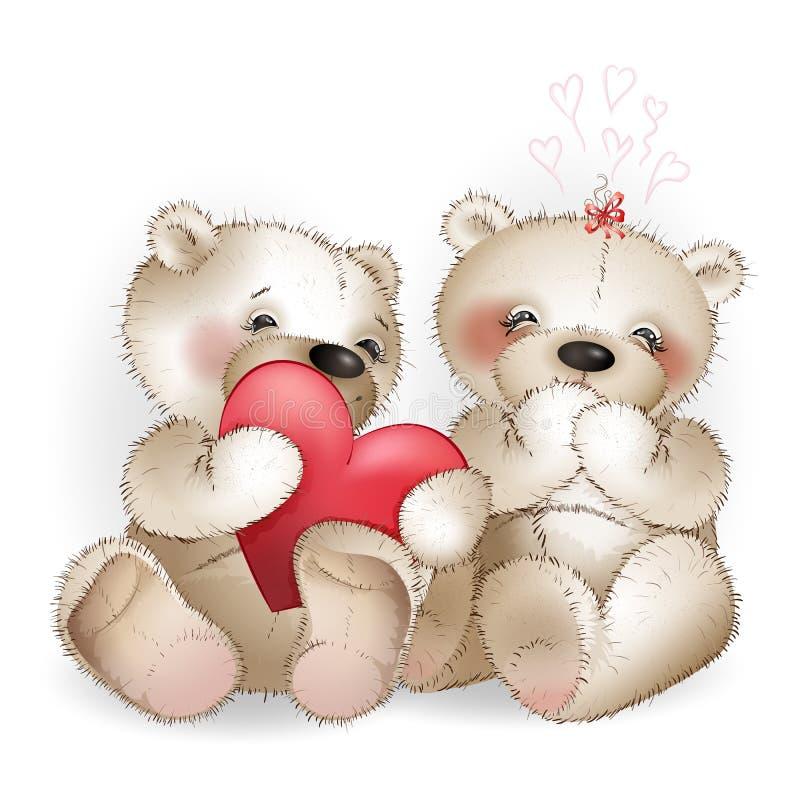 Urso com coração ilustração do vetor