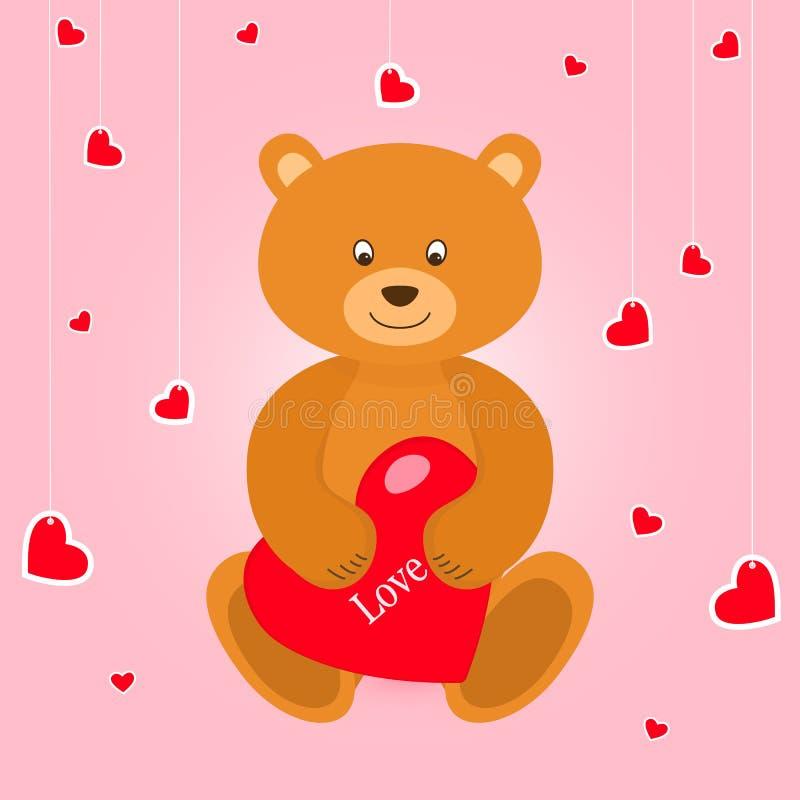 Urso com corações vermelhos no baclground cor-de-rosa Cartão no dia de Valentim ilustração stock