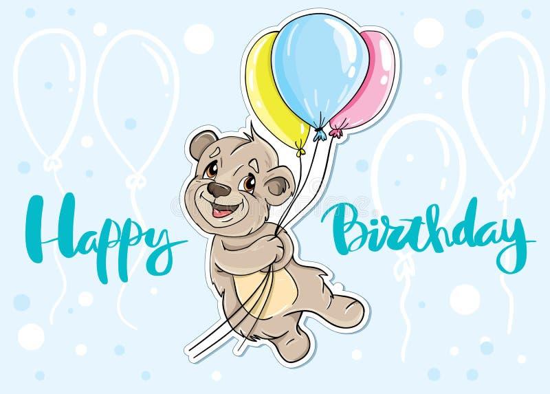 Urso com feliz aniversario do cartão dos balões ilustração do vetor