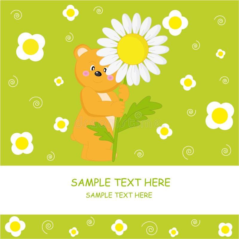 Urso com flor ilustração royalty free