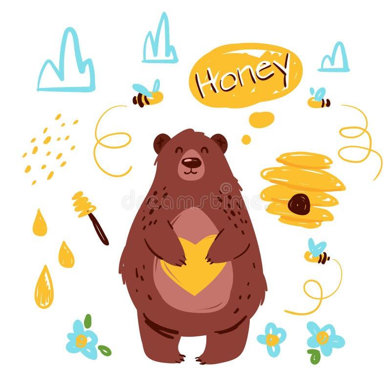 Urso com ilustração tirada mão do vetor do mel ilustração royalty free
