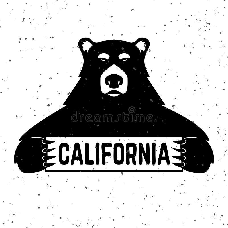 Urso com sinal de Califórnia Ilustração do vetor ilustração stock